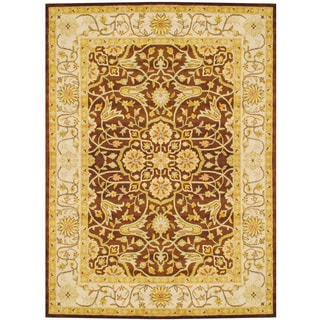 Herat Oriental Indo Hand-tufted Brown/ Ivory Wool Rug (8' x 11')