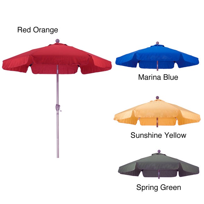 PHAT TOMMY Aluminum 7.5 Foot Patio Market Umbrella with Crank and Tilt