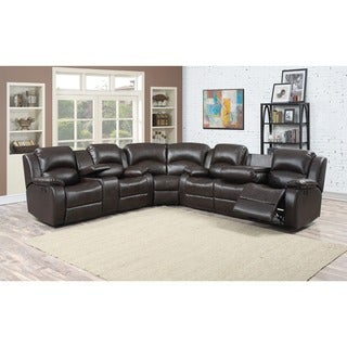 Samara Family Bonded Leather Reclining Sectional Sofa