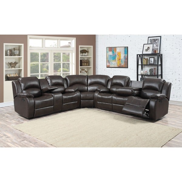 Samara Family Bonded Leather Reclining Sectional Sofa  sc 1 st  Overstock.com : reclinable sectional sofas - islam-shia.org