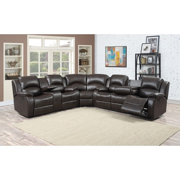 Samara Family Bonded Leather Reclining Sectional Sofa Free