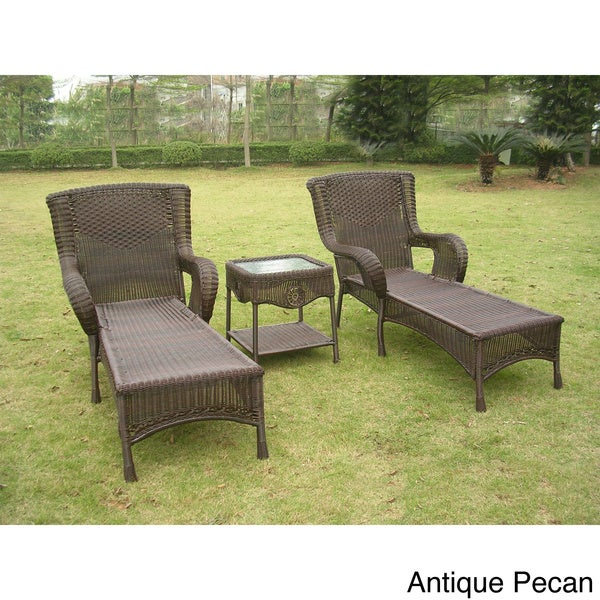 international caravan san tropez resin wicker 3 piece chaise lounge set with side table free. Black Bedroom Furniture Sets. Home Design Ideas