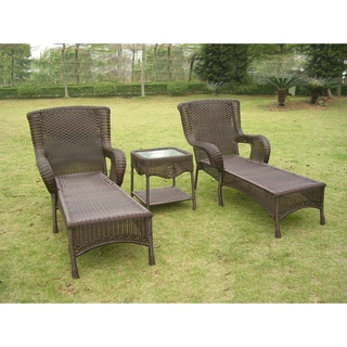 International Caravan San Tropez Resin Wicker 3-piece Chaise Lounge Set with Side Table