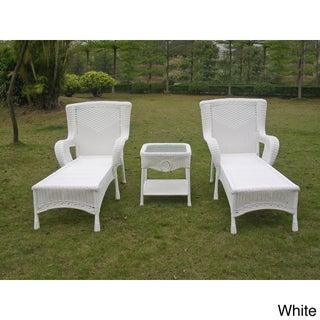 International Caravan San Tropez Resin Wicker 3-piece Chaise Lounge Set with Side Table