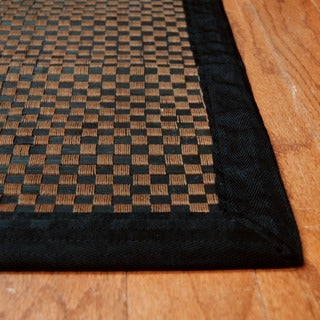 Asian Hand-woven Checkered Rayon from Bamboo Rug (2' x 3')