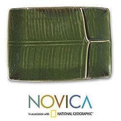 Stoneware Ceramic 'Square Leaf' Serving Platter (Indonesia)