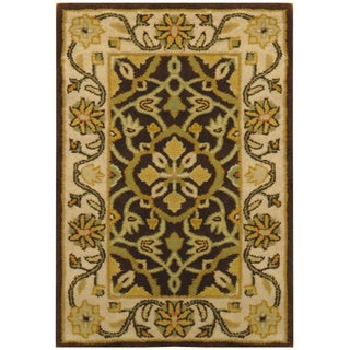 Herat Oriental Indo Hand-tufted Oushak Brown/ Ivory Wool Rug (2' x 3')
