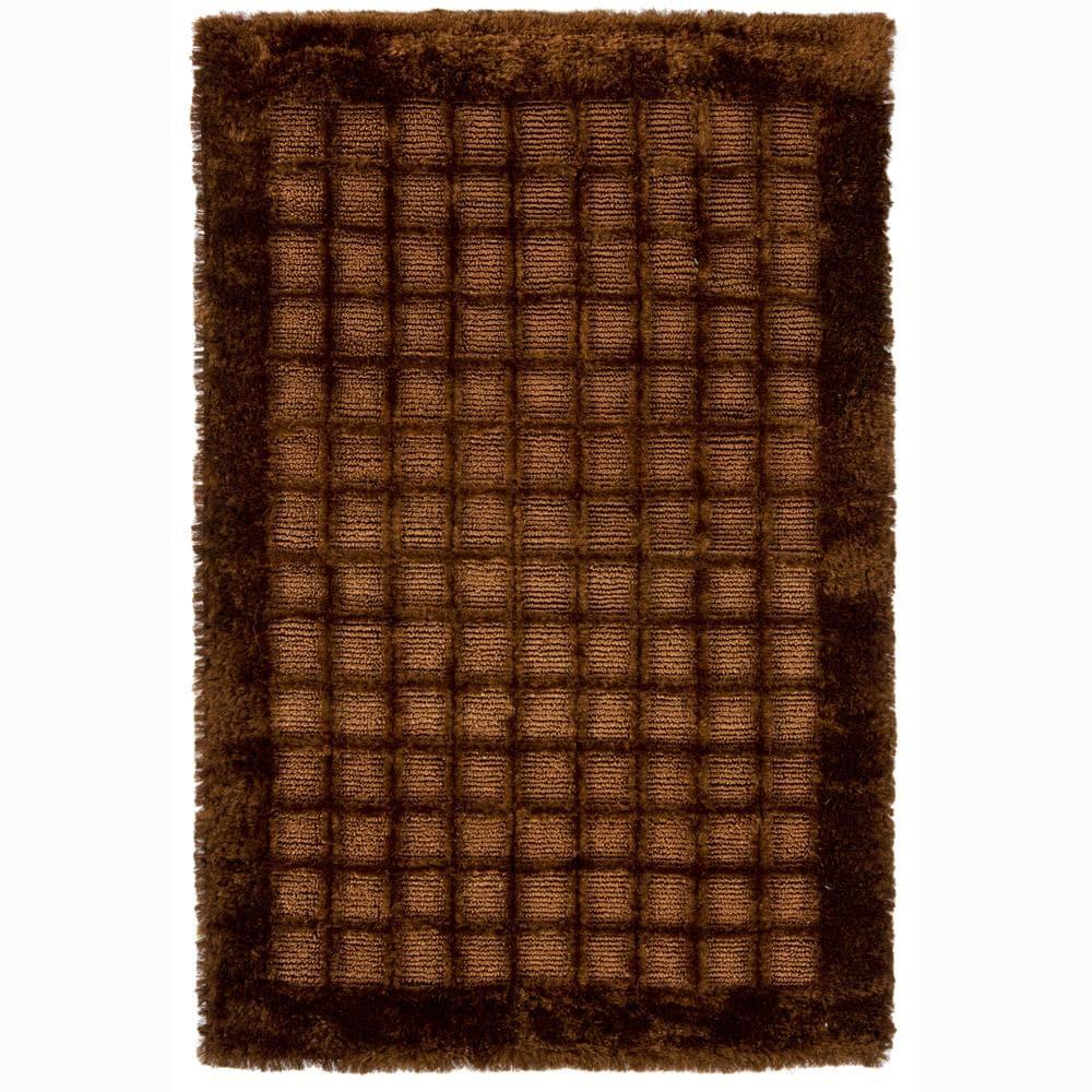 Hand-woven Mandara Brown Shag Rug (2' x 3')