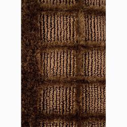 "Handwoven Mandara Brown Shag Area Rug (7'9"" Round) - Thumbnail 2"