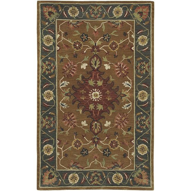 Hand-tufted Green/Tan Southwestern Empire New Zealand Wool Rug (5' x8')