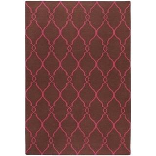 Hand-woven Bristol Pink Moroccan Trellis Flatweave Wool Area Rug - 5' x 8'