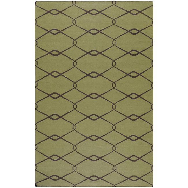 Hand-woven Weston Green Wool Rug (5' x 8')