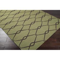 Hand-woven Weston Green Wool Rug (5' x 8') - Thumbnail 1