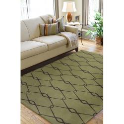 Hand-woven Weston Green Wool Rug (5' x 8') - Thumbnail 2