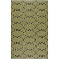 Hand-woven Weston Green Wool Area Rug - 5' x 8'