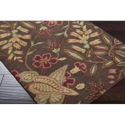 Hand-tufted Gramercy Brown Wool Rug (8' x 11') - Thumbnail 1