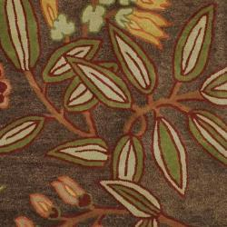 Hand-tufted Gramercy Brown Wool Rug (8' x 11') - Thumbnail 2