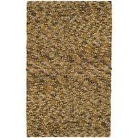Hand-hooked Hayward Gold Wool Area Rug (5' x 8')