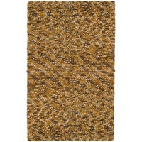 Hand-hooked Hayward Gold Wool Area Rug - 5' x 8'