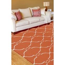 Hand Woven Prep Orange Wool Rug (5' x 8')