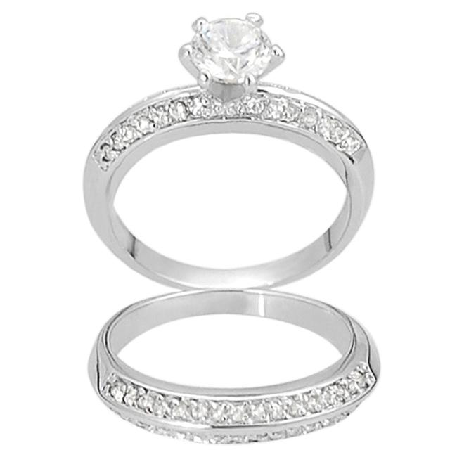 Journee Collection Silvertone Round-cut CZ 2-piece Bridal-style Ring Set