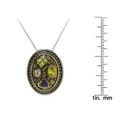 Two-tone Multi-colored Cubic Zirconia Necklace - Thumbnail 2