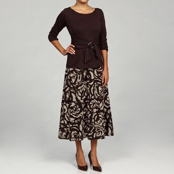 Perceptions Women's Brown 2-piece Sweater Dress Set