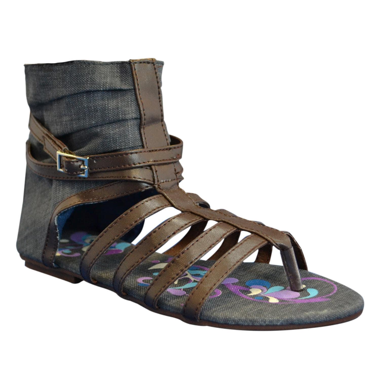Muk Luks Women's Sun Luk Printed Canvas Scrunched Gladiator Sandals - Thumbnail 1