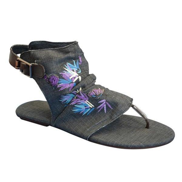 Muk Luks Women's Denim Sun Luks Printed Canvas Cut-out Scrunched Gladiator Sandals