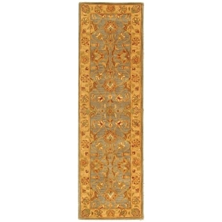 Safavieh Handmade Heritage Traditional Kerman Blue/ Beige Wool Runner (2'3 x 16')