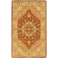 Safavieh Handmade Heritage Timeless Traditional Rust/ Gold Wool Rug - 2' X 3'