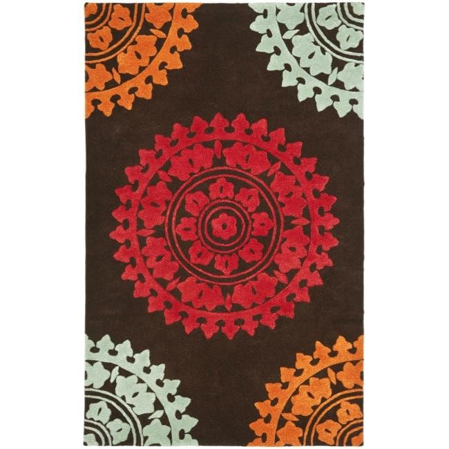 Safavieh Handmade Soho Chrono Brown/ Multi New Zealand Wool Rug (5'x 8') - Thumbnail 0