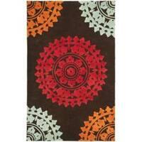 Safavieh Handmade Soho Chrono Brown/ Multi New Zealand Wool Rug - 5' x 8'