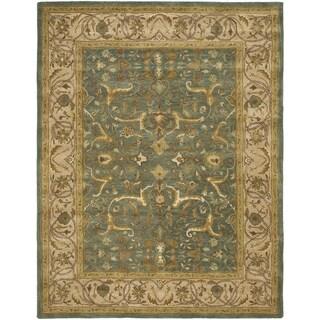 Safavieh Handmade Heritage Traditional Kashan Blue/ Beige Wool Rug (9'6 x 13'6)
