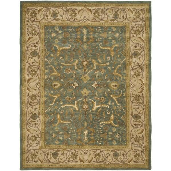 Safavieh Handmade Heritage Traditional Kashan Blue/ Beige Wool Rug - 9'6 x 13'6