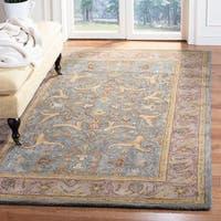 """Safavieh Handmade Heritage Traditional Kashan Blue/ Beige Wool Rug - 9'6"""" x 13'6"""""""