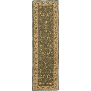 Safavieh Handmade Heritage Traditional Kashan Blue/ Beige Wool Runner (2'3 x 6')
