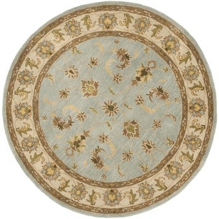 Safavieh Handmade Heritage Timeless Traditional Light Blue/ Beige Wool Rug (6' Round)