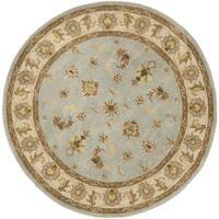 Safavieh Handmade Heritage Timeless Traditional Light Blue/ Beige Wool Rug - 6' x 6' Round