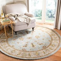Safavieh Handmade Heritage Timeless Traditional Light Blue/ Beige Wool Rug - 6' x 6' Round