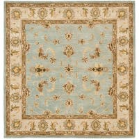 Safavieh Handmade Heritage Timeless Traditional Light Blue/ Beige Wool Rug - 6' x 6' Square