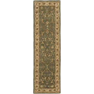 Safavieh Handmade Heritage Traditional Kashan Blue/ Beige Wool Runner (2'3 x 8')