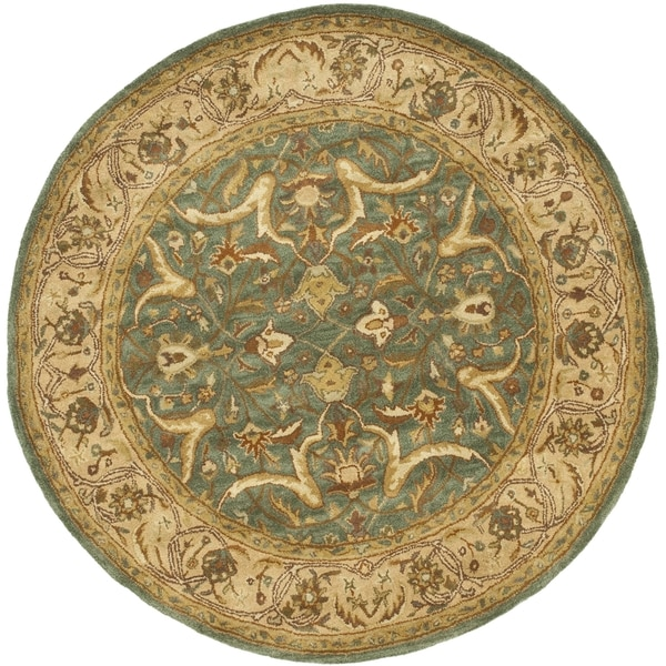 Safavieh Handmade Heritage Traditional Kashan Blue/ Beige Wool Rug (3'6 Round)