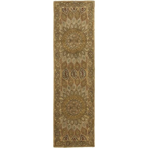 Safavieh Handmade Heritage Timeless Traditional Light Brown/ Grey Wool Runner (2'3 x 8')