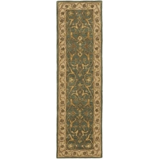 Safavieh Handmade Heritage Traditional Kashan Blue/ Beige Wool Runner (2'3 x 12')