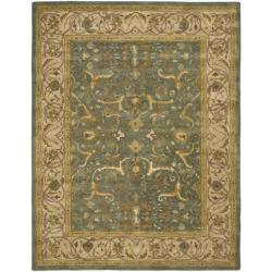 Safavieh Handmade Heritage Traditional Kashan Blue/ Beige Wool Rug - 7'6 x 9'6 - Thumbnail 0