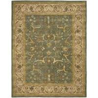 Safavieh Handmade Heritage Traditional Kashan Blue/ Beige Wool Rug - 7'6 x 9'6
