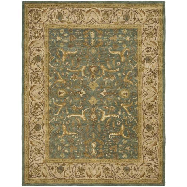 Safavieh Handmade Heritage Traditional Kashan Blue/ Beige Wool Rug (7'6 x 9'6)