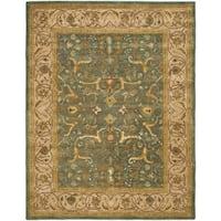 """Safavieh Handmade Heritage Traditional Kashan Blue/ Beige Wool Rug - 7'6"""" x 9'6"""""""