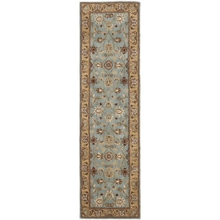 Safavieh Handmade Heritage Timeless Traditional Blue/ Gold Wool Runner (2'3 x 16')